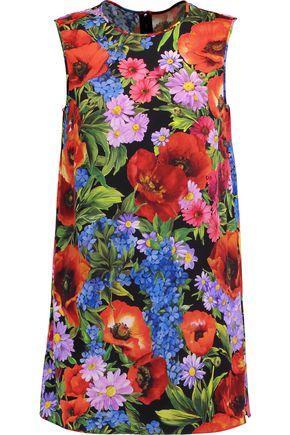 Dolce & Gabbana Woman Printed Silk-blend Satin Top Red