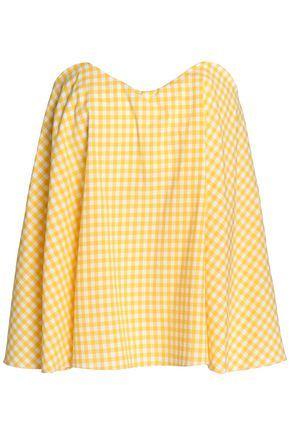 Caroline Constas Woman Coco Strapless Gingham Cotton-poplin Top Yellow
