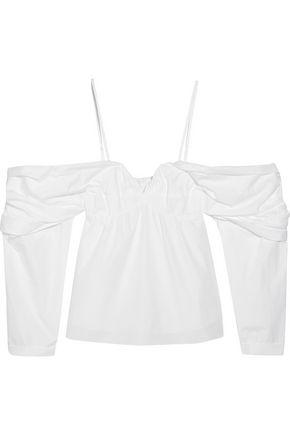 Jw Anderson Woman Off-the-shoulder Cotton-poplin Top Off-white