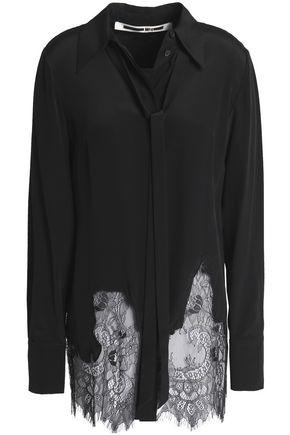 Mcq By Alexander Mcqueen Chantilly Lace-paneled Silk Shirt In Black