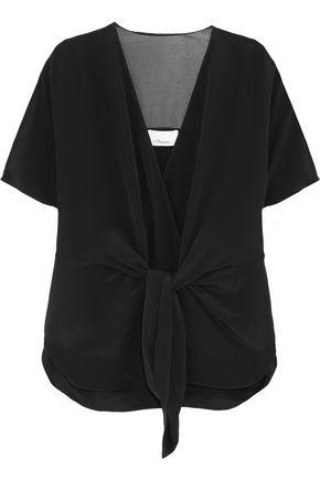 3.1 Phillip Lim Woman Voile-paneled Knotted Silk Top Black