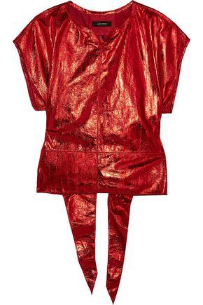 Isabel Marant Woman Open-back Metallic Leather Top Red