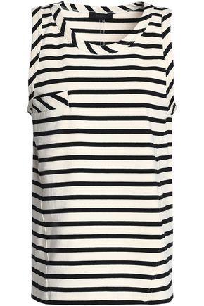 Belstaff Woman Striped Cotton-jersey Top Ecru