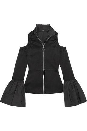 Ellery Woman Ayumi Cold-shoulder Satin-crepe Blouse Black