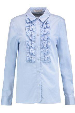 Tibi Woman Ruffle-trimmed Cotton-poplin Shirt Sky Blue