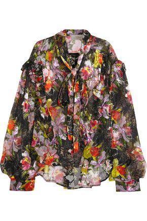 Preen By Thornton Bregazzi Woman Cora Printed DevorÉ Silk-blend Chiffon Top Black