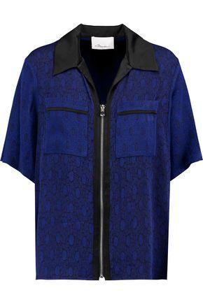 3.1 Phillip Lim Woman Satin-trimmed Jacquard Shirt Navy