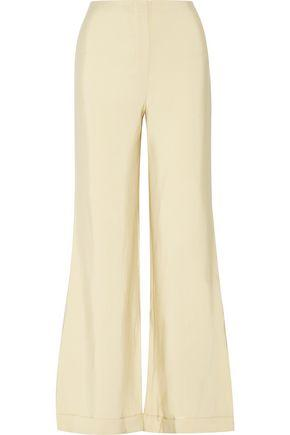 The Row Winona Wool And Silk-blend Faille Wide-leg Pants In Beige