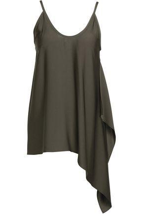 Helmut Lang Woman Asymmetric Draped Silk-blend Top Gray