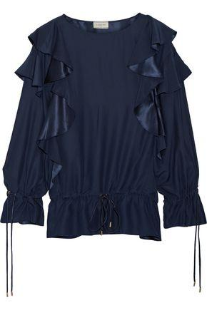 Lanvin Woman Ruffled Crepe Blouse Midnight Blue