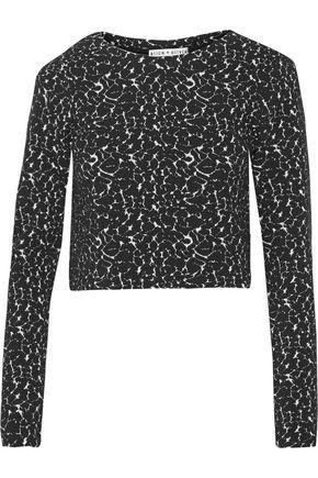 Alice And Olivia Woman Natasha Cropped Intarsia Cotton-blend Top Black