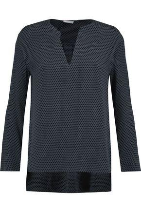 Vince Woman Printed Silk-crepe Top Midnight Blue