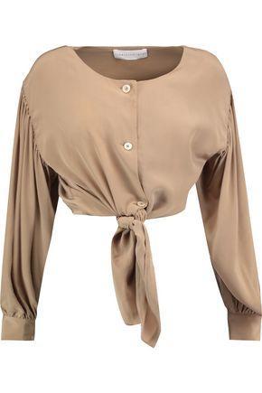 Robert Rodriguez Woman Tied Silk Top Camel
