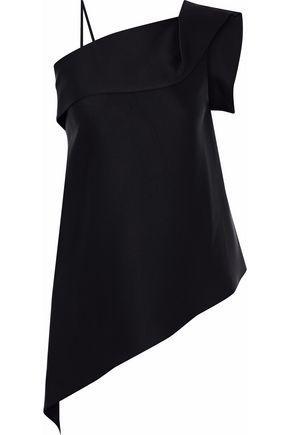 Roland Mouret Woman Asymmetric Layered Satin Top Black
