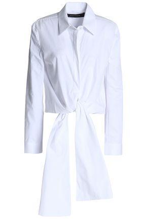 Paper London Woman Tie-front Cotton-poplin Shirt White