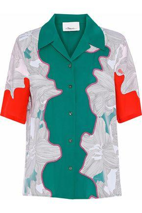 3.1 Phillip Lim Woman Paneled Mesh-trimmed Printed Silk Shirt White