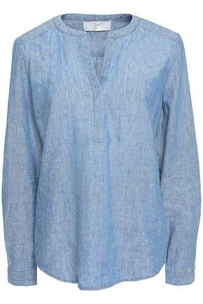 Joie Woman Off-the-shoulders Linen And Cotton Chambray Top Light Denim