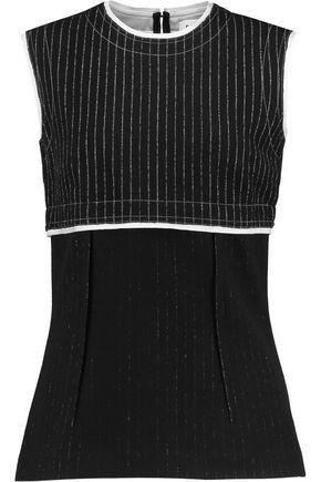 Dkny Woman Paneled Pinstriped Wool-blend Top Black