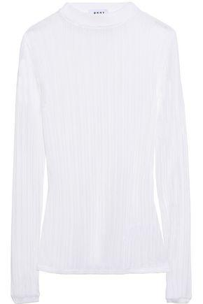 Dkny Woman Ribbed-knit Top White