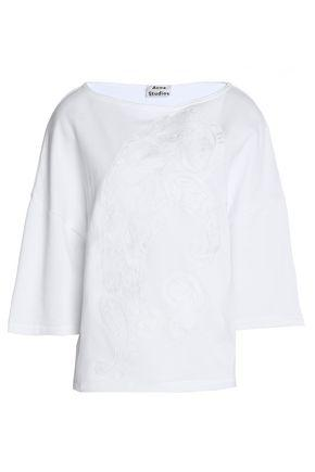 Acne Studios Woman Embroidered Cotton Top White
