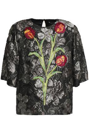 Dolce & Gabbana Floral-appliquÉd Brocade Top In Gray