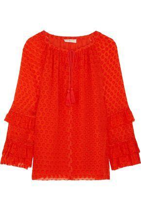Tory Burch Woman Madison Fil CoupÉ Silk-blend Blouse Orange