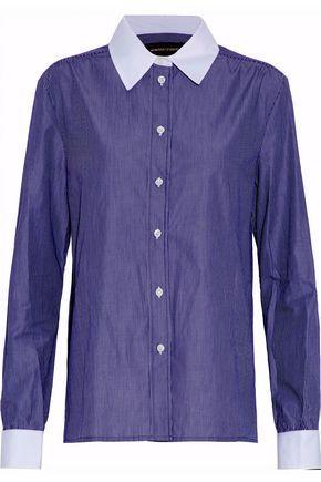 Vanessa Seward Woman Striped Cotton-poplin Shirt Navy