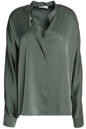 Vince Woman Stretch Silk-satin Shirt Leaf Green