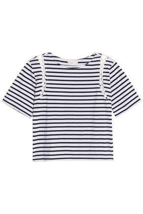 A.l.c Woman Lattice-trimmed Striped Cotton-jersey Top Blue
