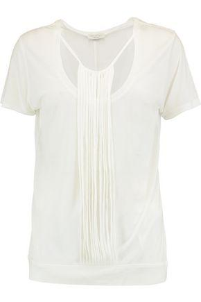 Halston Heritage Woman Fringed Modal Top Ivory