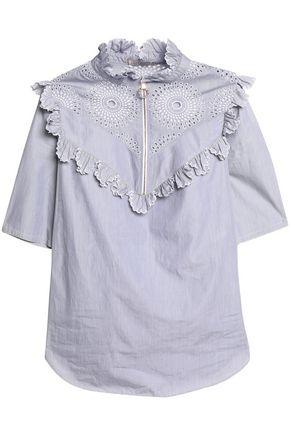 Nina Ricci Woman Ruffle-trimmed Broderie Anglaise Cotton-poplin Top Lilac