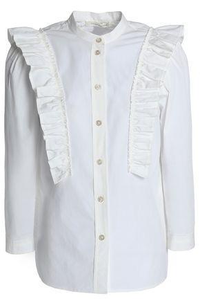 Marc Jacobs Woman Ruffle-trimmed Cotton-blend Poplin Shirt White