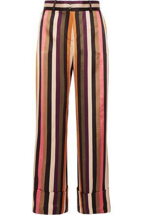 Petar Petrov Striped Silk-satin Wide-leg Pants In Black