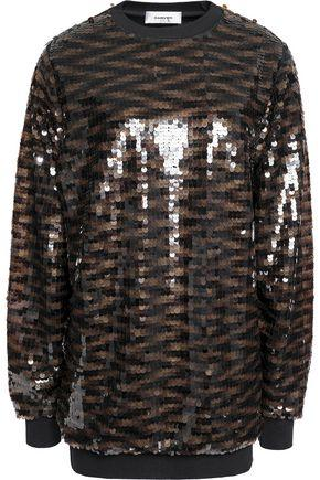 Carven Woman Sequined Knitted Top Brown