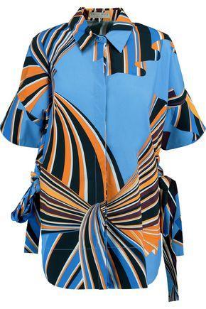 Emilio Pucci Printed Cotton-blend Poplin Shirt In Blue