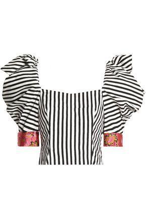 Dolce & Gabbana Woman Jacquard-trimmed Embellished Striped Cotton-blend Top Black