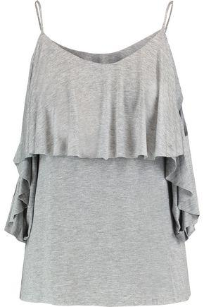 Bailey44 Woman Flutter Cold-shoulder Layered Stretch-jersey Top Gray