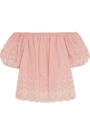 See By ChloÉ Woman Off-the-shoulder Broderie Anglaise Cotton-poplin Top Blush