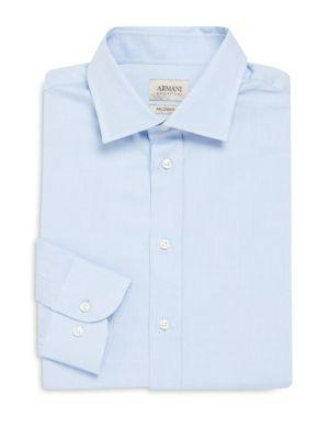 Armani Collezioni Modern Fit Solid Cotton Dress Shirt In Frost Blue