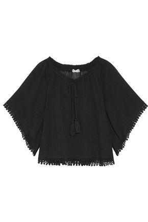Loveshackfancy Woman Gypsy Off-the-shoulder Lace-trimmed Cotton-guaze Top Black