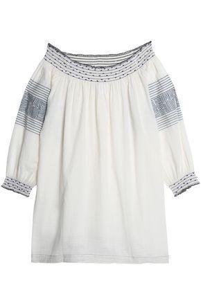Velvet By Graham & Spencer Woman Off-the-shoulder Embellished Printed Cotton Top Beige