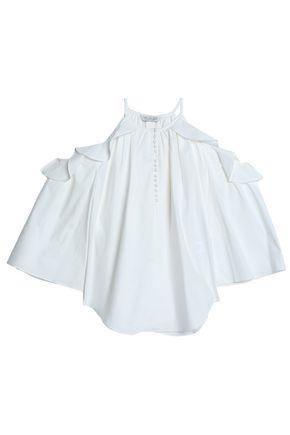 Rachel Zoe Woman Cold-shoulder Ruffle-trimmed Cotton-blend Poplin Blouse White