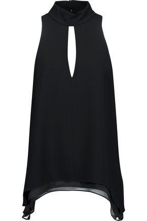 Cinq À Sept Woman Envie Asymmetric Cutout Crepe Top Black