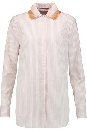 Tory Burch Woman Feather-trimmed Striped Cotton-poplin Shirt Beige