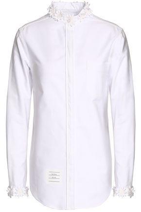 Thom Browne Woman Floral-appliquÉd Cotton Oxford Shirt White