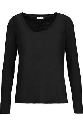 Splendid Woman Cutout Draped Stretch-jersey Top Black