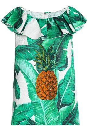 Dolce & Gabbana Woman Embellished Printed Cotton And Silk-blend Jacquard Top Green