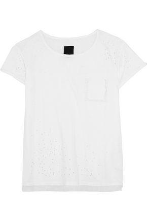 Rta Woman Isabelle Distressed Cotton-jersey T-shirt White