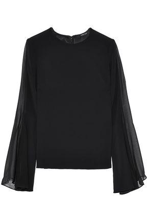 Cushnie Et Ochs Woman Silk Chiffon-paneled Crepe Top Black