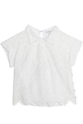Milly Woman Cotton-blend Corded Lace Top Ivory